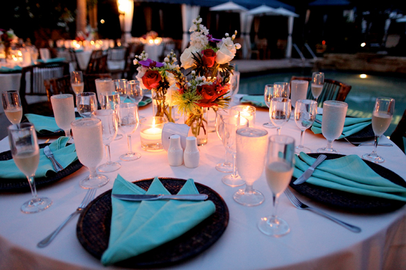 teal wedding tables Destination Wedding in Naples, Florida