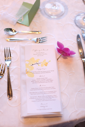 wedding menus Costa Rica Destination Wedding