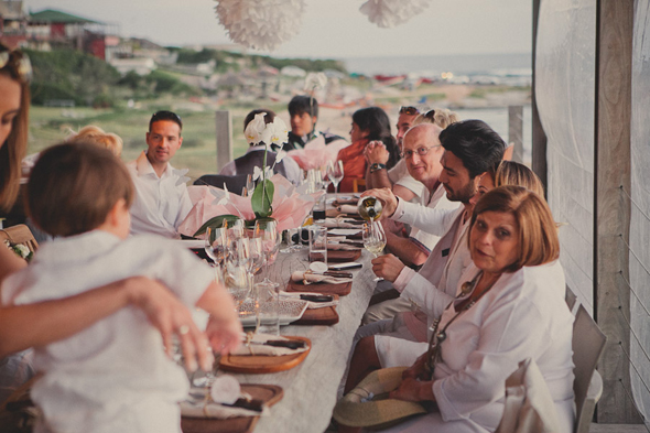 white wedding party Destination Wedding in Uruguay, South America