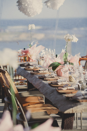 white wedding tables Destination Wedding in Uruguay, South America