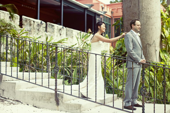 first look photo Destination Wedding in the Bahamas