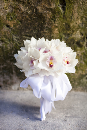 orchid bridal bouquet Destination Wedding in the Bahamas