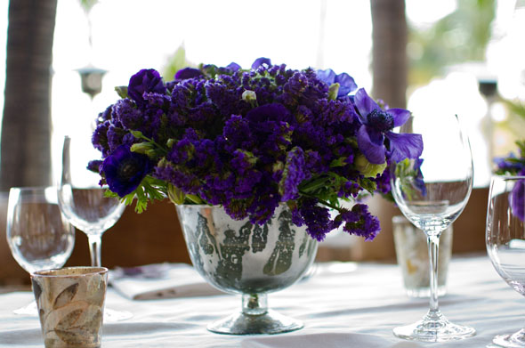purple centerpieces Los Cabos, Mexico Destination Wedding