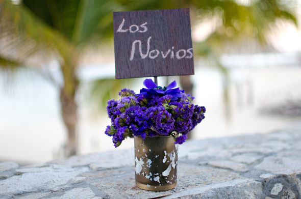 purple wedding flowers Los Cabos, Mexico Destination Wedding