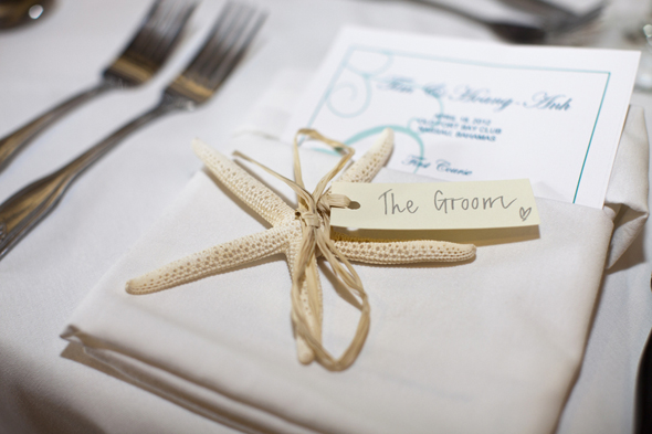 shell place cards Destination Wedding in the Bahamas