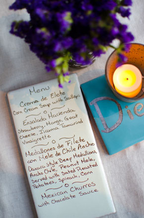 tile wedding menus Los Cabos, Mexico Destination Wedding