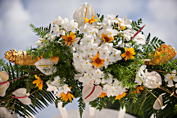 tropical wedding flowers Destination Wedding on a Boat in Barbados