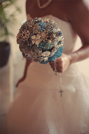 broach bridal bouquet