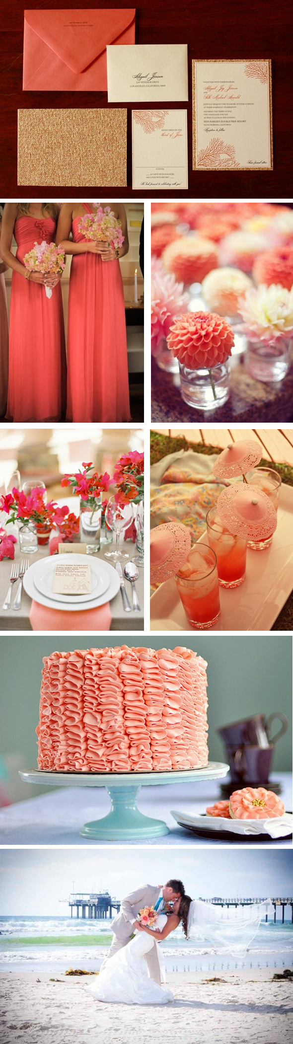 coral colored weddings