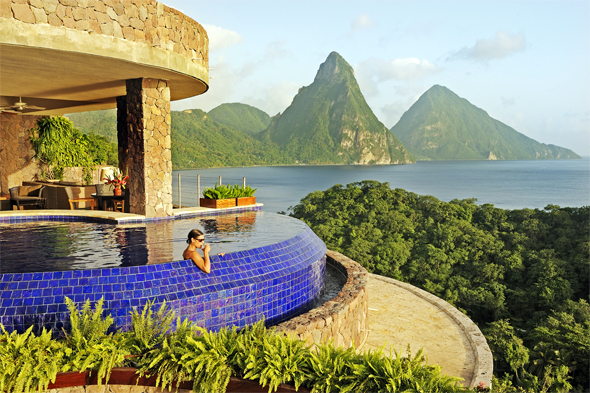 Honeymoon at jade mountain st lucia the destination for Pool garden mountain resort argao