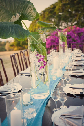 orchid wedding tables Rose Hall, Jamaica Destination Wedding