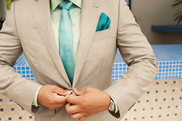 teal and grey groom suit