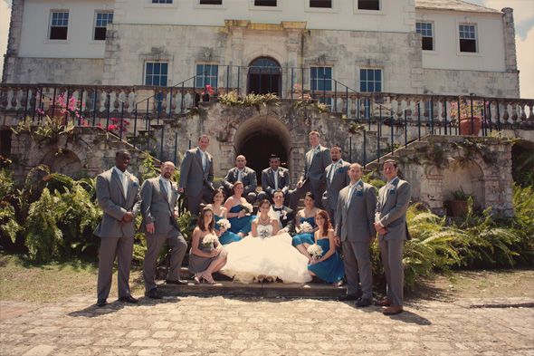 teal bridesmaid dresses Rose Hall, Jamaica Destination Wedding
