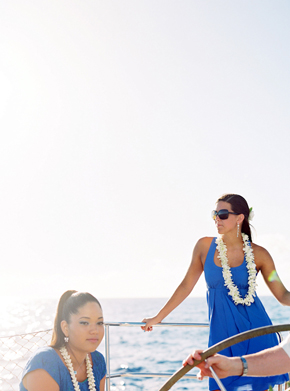 blue bridesmaid dresses Maui, Hawaii Destination Wedding on a Boat