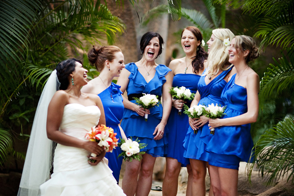 electric blue bridesmaid dresses