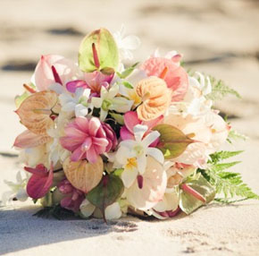 light colored tropical bouquet Tropical Bridal Bouquets