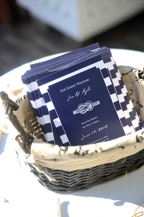 nautical wedding program Key West, Florida Destination Wedding