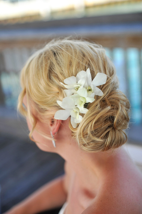 orchid wedding hair Key West, Florida Destination Wedding