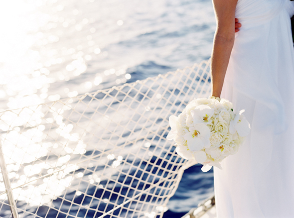 white bridal bouquet Maui, Hawaii Destination Wedding on a Boat