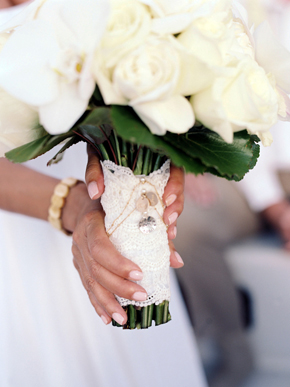white bridal bouquets Maui, Hawaii Destination Wedding on a Boat