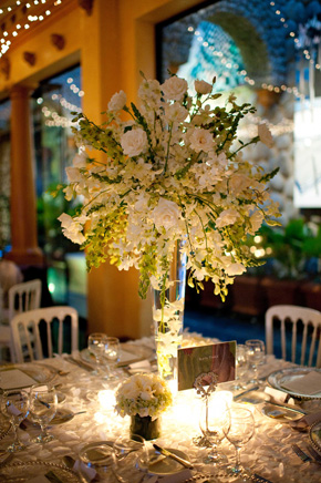 white centerpieces Costa Rica Destination Wedding at Zephyr Palace