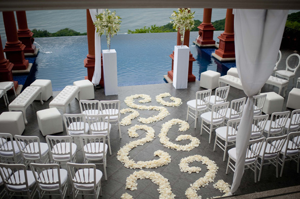 white wedding decor Costa Rica Destination Wedding at Zephyr Palace