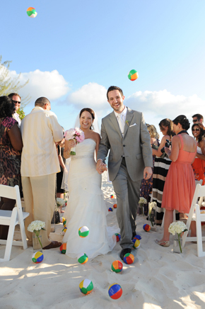 beach ball wedding Seven Mile Beach, Grand Cayman Destination Wedding