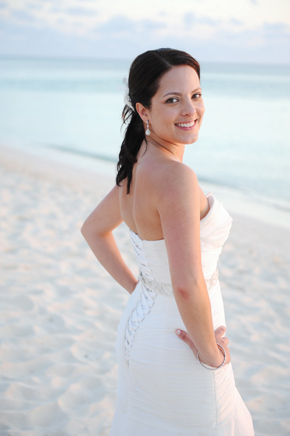 beach wedding dress Seven Mile Beach, Grand Cayman Destination Wedding