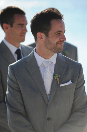 beach wedding groom's suit