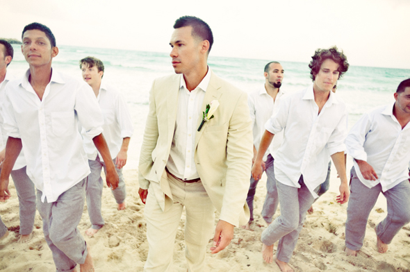 beach wedding groomsmen Destiation Wedding in Puerto Morelos, Mexico