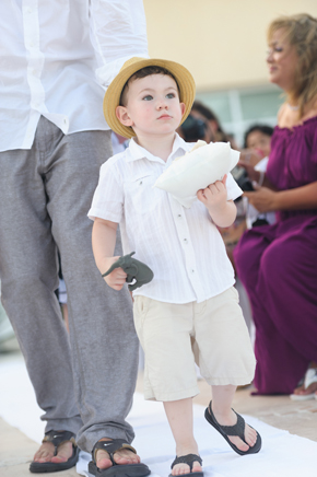 beach wedding ring bearer Destiation Wedding in Puerto Morelos, Mexico