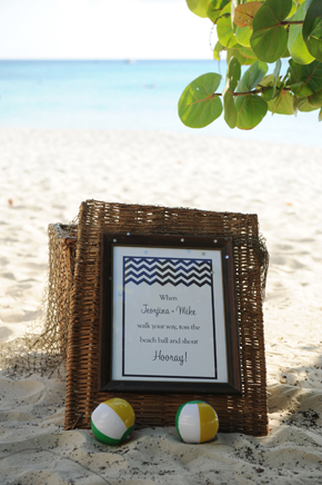 beach wedding sign Seven Mile Beach, Grand Cayman Destination Wedding
