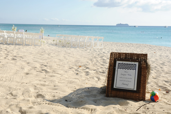 beach wedding signs Seven Mile Beach, Grand Cayman Destination Wedding