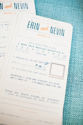 blue and orange wedding programs