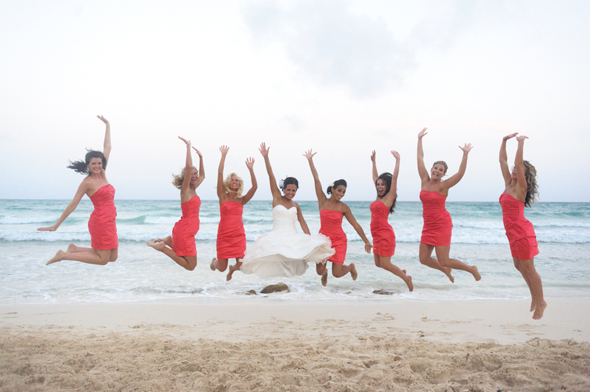 bright coral bridesmaid dresses Destiation Wedding in Puerto Morelos, Mexico
