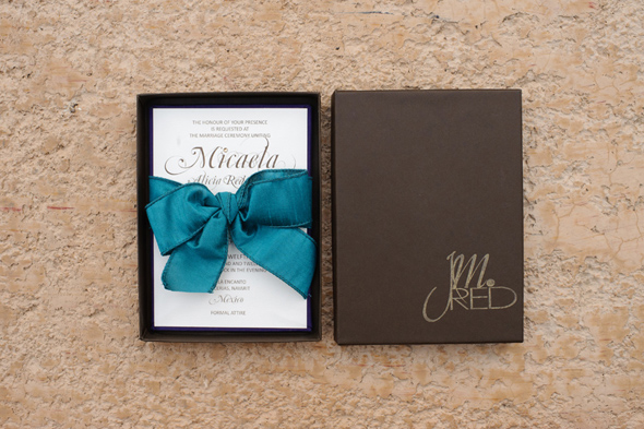 brown and teal wedding invitation