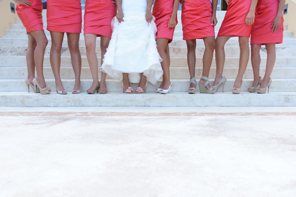 coral bridesmaid dresses Destiation Wedding in Puerto Morelos, Mexico