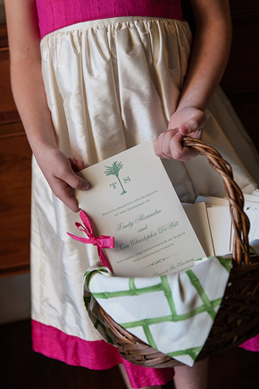 green and pink wedding programs