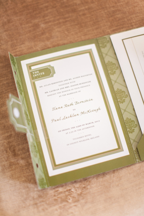 green and white wedding invitation Wicklow, Ireland Destination Wedding