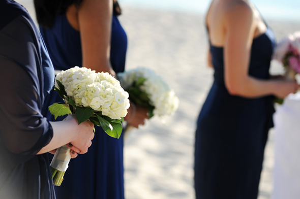hydrangea bouquet Seven Mile Beach, Grand Cayman Destination Wedding