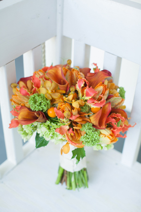 orange and green bouquet Map Inspired Destination Wedding Re Run