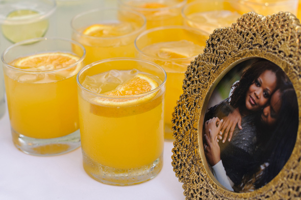 orange wedding cocktails