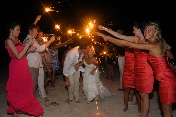 sparkler send offs Destiation Wedding in Puerto Morelos, Mexico