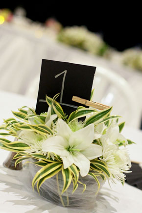 black white and green wedding