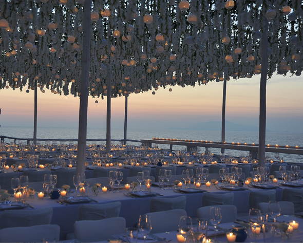 hanging flowers at wedding Formal Destination Wedding in Italy