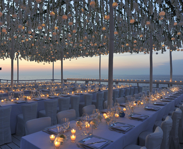 hanging flowers at weddings Formal Destination Wedding in Italy