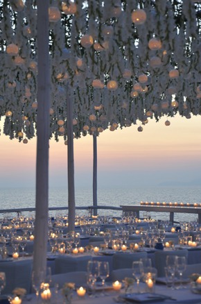 hanging wedding flowers Formal Destination Wedding in Italy