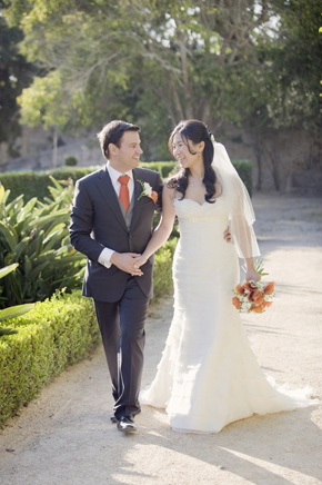orange bridal bouquet Destination Wedding in Sintra, Portugal