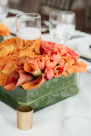 orange centerpiece Cabo Azul Resort Destination Wedding in Mexico