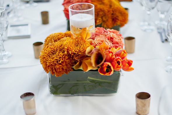 orange centerpieces Cabo Azul Resort Destination Wedding in Mexico